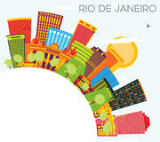 Rio De Janeiro Skyline with Color Buildings, Blue Sky and Copy S. Pace. Vector Illustration. Business Travel and Tourism Concept with Modern Architecture. Image stock illustration