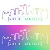 Rio De Janeiro skyline. Colorful linear style. stock illustration