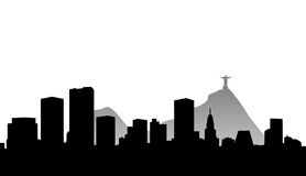Rio de janeiro skyline silhouette. Vector illustration of the city of rio de janeiro in brazil with skyscrapers skyline and the world famous landmark of the Stock Image