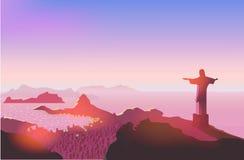 Rio de Janeiro skyline. Statue rises above the brazilian city. Sunset sky over Copacabana beach. Vector illustration Stock Photo