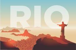 Rio de Janeiro skyline. Statue rises above the brazilian city. Sunset sky over Copacabana beach. Vector illustration Royalty Free Stock Photo