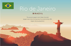 Rio de Janeiro skyline. Statue rises above the brazilian city. Sunset sky over Copacabana beach. Vector illustration Stock Image