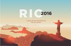 Rio de Janeiro skyline. Statue rises above the brazilian city. Stock Photo