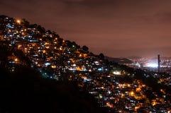 Rio de Janeiro Slums at Night. Rio de Janeiro Slums on the Hill at Night Stock Photos