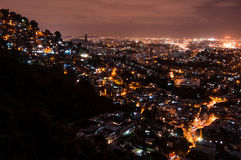 Rio de Janeiro Slums at Night. Rio de Janeiro Slums on the Hill at Night Royalty Free Stock Photo