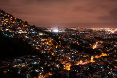 Rio de Janeiro Slums at Night Royalty Free Stock Photos