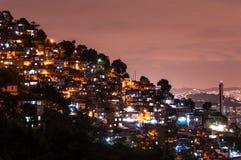 Rio de Janeiro Slums at Night. Rio de Janeiro Slums on the Hill at Night Stock Photography
