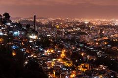 Rio de Janeiro Slums at Night. Rio de Janeiro Slums on the Hill at Night Stock Images