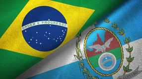 Rio de Janeiro state and Brazil flags textile cloth, fabric texture. Rio de Janeiro state and Brazil folded flags together royalty free illustration
