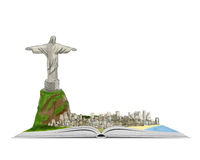 Rio de Janeiro and statue of Christ the Redeemer on an open book hand drawn illustration. City of Rio de Janeiro and Christ the Redeemer on an open book hand Royalty Free Stock Image