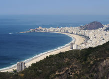 Rio de Janeiro from Sugarloaf. Brazil, City of Rio de Janeiro, Sugarloaf Mountain, Elevated view of the Copacabana Beach Royalty Free Stock Photo