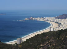 Rio de Janeiro from Sugarloaf. Brazil, City of Rio de Janeiro, Sugarloaf Mountain, Elevated view of the Copacabana Beach Stock Image