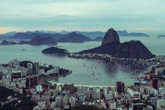 Rio de Janeiro (Sugarloaf) landscape. Sunrise at the Dona Marta Mirante Stock Photography