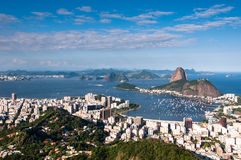 Rio de Janeiro and Sugarloaf Mountain. Sugarloaf Mountain and Botafogo District, Skyline of Rio de Janeiro City, Brazil Stock Photo