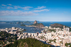 Rio de Janeiro and Sugarloaf Mountain. Sugarloaf Mountain and Botafogo District, Skyline of Rio de Janeiro City, Brazil Royalty Free Stock Photos