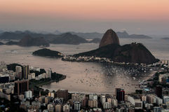 Rio de Janeiro, Sugarloaf Mountain by Sunset Stock Images