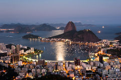 Rio de Janeiro, Sugarloaf Mountain by Sunset. Sugarloaf Mountain and Botafogo District view by Sunset in Rio de Janeiro, Brazil Stock Image