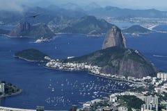 Rio de Janeiro and Sugarloaf panorama vew. Panorama view from Corcovado hill to Rio de Janeiro nad Sugarloaf Stock Photography