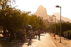 Rio de Janeiro Sunset Cycling and Walking Royalty Free Stock Image