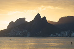 Rio de Janeiro Sunset Silhouette Two Brothers Mountain Ipanema Brazil Royalty Free Stock Photography
