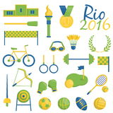 Rio de janeiro themed sports icons. A set of Rio de Janeiro Brazilian flag color themed sport icons devoted to rio 2016 sports events in brazil. Sports Royalty Free Stock Photos