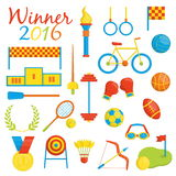 Rio de janeiro themed sports icons. A set of Rio de Janeiro sport competition themed sport icons devoted to rio 2016 sports events in brazil. Sports competition Royalty Free Stock Image