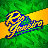 Rio de Janeiro vector lettering design with Brazilian flag colors and fractal background Stock Photo