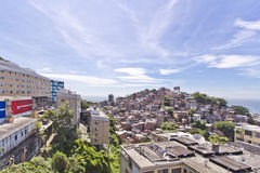 Rio de Janeiro. View of the slum of Cantangalo, in Rio de Janeiro, contrasting with the wealthy neighbourhoods od Ipanema and Copacabana around Royalty Free Stock Photography