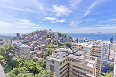 Rio de Janeiro. View of the slum of Cantangalo, in Rio de Janeiro, contrasting with the wealthy neighbourhoods od Ipanema and Copacabana around Stock Photography