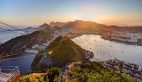 Rio de Janeiro. View from Sugar Loaf at Rio de Janeiro, Copacabana Beach, Bota Fogo, statue of Christ the Redeemer Royalty Free Stock Photos