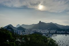Rio de Janeiro View from Sugarloaf Mountain over the City during sunset Royalty Free Stock Images