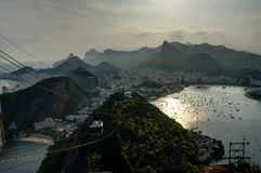 Rio de Janeiro View from Sugarloaf Mountain over the City during sunset Stock Photo