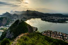 Rio de Janeiro View from Sugarloaf Mountain over the City during sunset Royalty Free Stock Photography