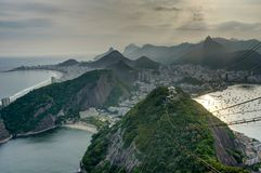 Rio de Janeiro View from Sugarloaf Mountain over the City during sunset Royalty Free Stock Image
