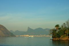 Rio de Janeiro waterfront. Scenic view of Rio de Janeiro city waterfront with mountain range silhouetted in background, Brazil Royalty Free Stock Photo