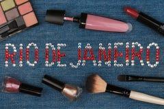 Rio de Janeiro. World capitals of fashion. Word inlaid rhinestones and cosmetics. Royalty Free Stock Images