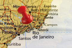 Rio de Janerio pinned map. Stock Photo