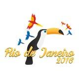 Rio de Jeaneiro logo. Travel in Brasil. South America. Toucan. Three parrots. Stock Image