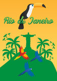Rio de Jeaneiro Poster. Travel in Brasil. South America. Statue of Christ the Redeemer. Toucan. Three parrots. Royalty Free Stock Photos