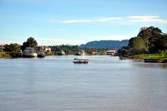 Rio de Lawas, Lawas, Sarawak, Malásia fotos de stock royalty free