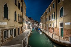 Rio de le Romite. Canal in Venice at night Royalty Free Stock Photography