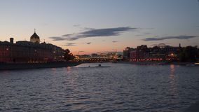 Rio de Moscou na noite Fotografia de Stock Royalty Free