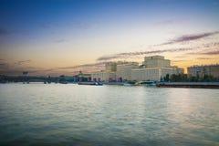 Rio de Moscou na noite Imagens de Stock Royalty Free