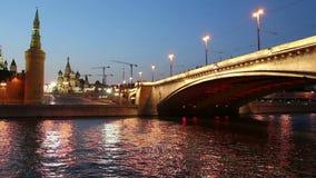 Rio de Moskva e Kremlin na noite, Moscou, Rússia filme