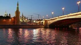 Rio de Moskva e Kremlin na noite, Moscou, Rússia vídeos de arquivo