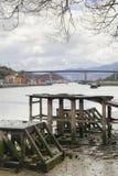 Rio de Nervion e ponte de Rontegi spain imagem de stock