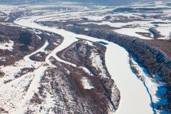 Rio de Oka, Rússia no inverno, vista superior Imagem de Stock