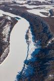 Rio de Oka, Rússia no inverno, vista superior Fotografia de Stock Royalty Free