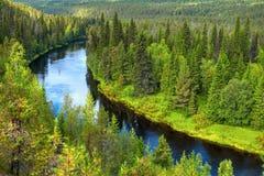 Rio de Oulanka no fim do verão foto de stock