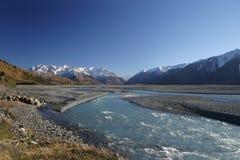Rio de Rakaia, Canterbury Nova Zelândia Foto de Stock